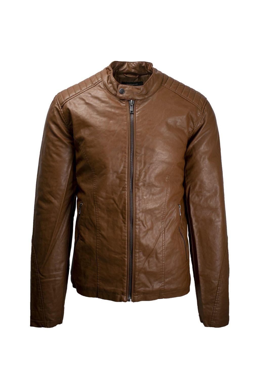 Ανδρικό Μπουφάν Jacket Δερματίνη 42-201-012 Ταμπά