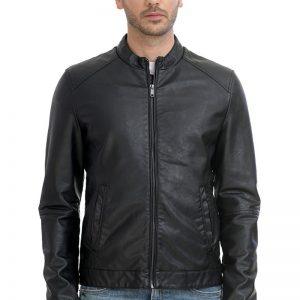 Ανδρικό Μπουφάν Eco Leather Jacket 43-201-017 Μαύρο